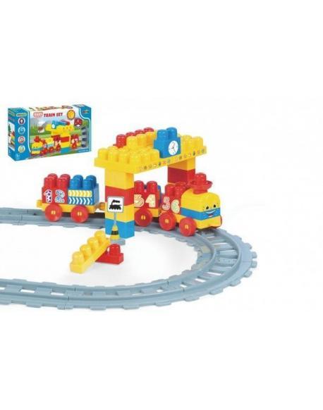Baby Blocks vlak s kolejemi a stavebnicí s doplňky